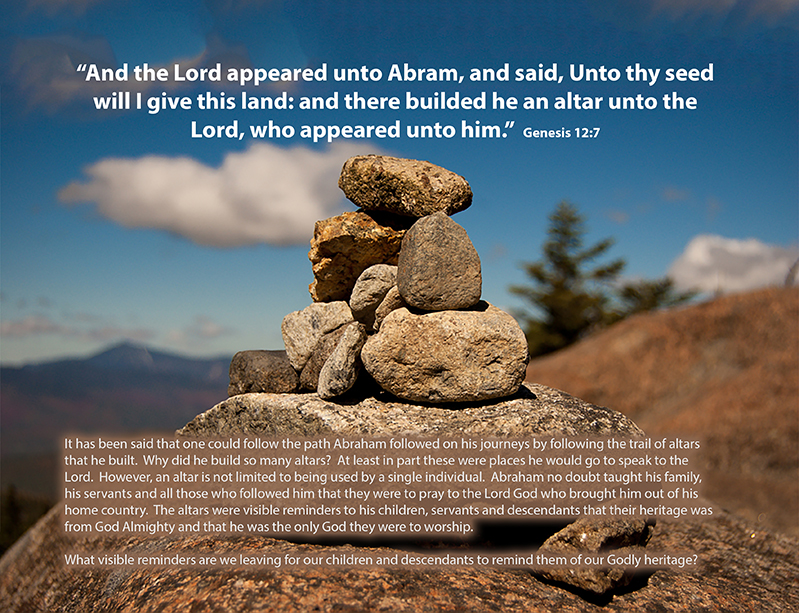 Genesis 12:7 And the Lord appeared unto Abram, and said, Unto thy seed will I give this land: and there builded he an altar unto the Lord, who appeared unto him.