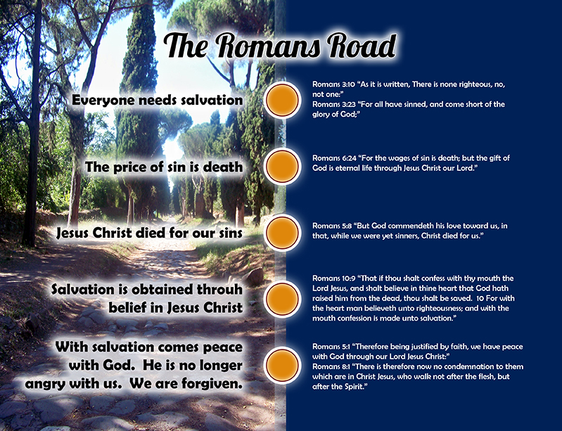 photograph relating to Romans Road to Salvation Printable known as Visible Guidance: The Romans Highway Fridge Devotionals